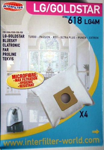 4 sacs non tisses Interfilter (made in UE) adaptables pour | BLUE SKY - BVC 1600, 1609 HP, 2000, 2002 - AP 130.9 - Super SX VS01G600 | BOMANN - CB 950, 993 | CTC CLATRONIC - BS 1224, 1231 | FAR - A 30