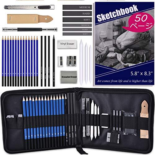 Darkeagle スケッチ鉛筆 デッサン鉛筆セット 絵画スケッチ用の鉛筆セット ポータブルデッサンツール 消しゴム 鉛筆削り 一つのバッグで35点を全部収納 50枚スケッチブック付け 子供や大人も適用な美術鉛筆セット