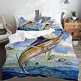 PANILUR Bedding Juego,Marlin Azul Marlines Atún Pequeño Bonito Pescado Terry FoxFunda de Nórdico Fundas de Almohada 140x200cm +2(50x80cm)