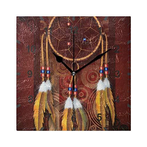 ISAOA tickt nicht lautlos Wanduhr, Indianer Art Traumfänger Uhr Home Schlafzimmer Wohnzimmer Büro Schule Dekor