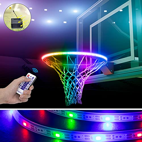 Gr8ware LED Basketball Hoop Light, Solar Powered Waterproof Basketball Rim Light with Smart and Timing Switch, 6-Light Modes Light Up Basketball, Teenage Boys Gifts Ideas