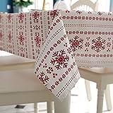 NHhuai Mantel Encerado Lavable Mantel Antimanchas Mantel a Prueba de Polvo para Interiores y Exteriores Copo de Nieve Rojo algodón poliéster Simple