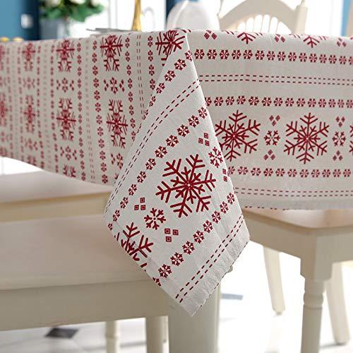 DSman Mantel Antimanchas, Prueba de Aceite Manteles para Bodas Fiesta Buffet Copo de Nieve Rojo Simple poliéster algodón imitación Lino