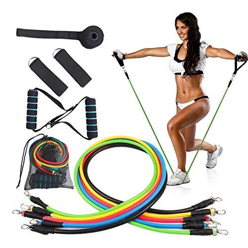 XTDGN 11pcs Gewicht Übung Fitness-Widerstand-Bänder Set - stapelbare Elastic Band Fitnesstraining - mit Tür-Anker-Griff und Beinen Ankle Straps, für Haus, Gym