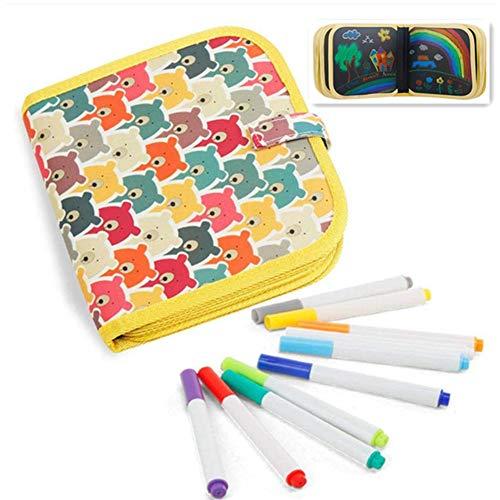 Bostar Tablero Escritura de Dibujo Portátil para Niños Libros Blandos de Pizarra Juguetes para Educación Preescolar para Bebés con Plumas de Colores (B, 10 páginas+6plumas)