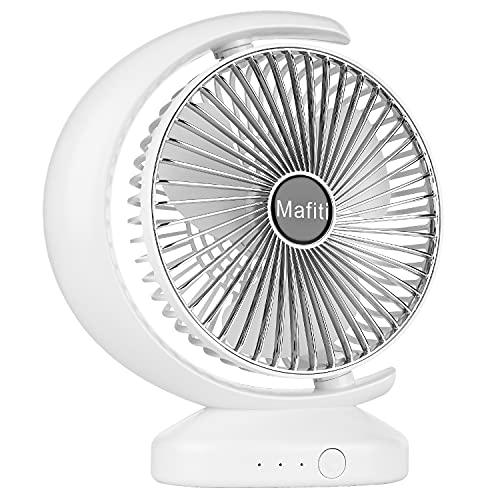 Mafiti Ventiladores de sobremensa,Ventilador de Escritorio portátil Personal oscilante, pequeño, con USB Recargable. Ideal para la Oficina, Viajes, Hogar, Dormitorio. Color Blanco