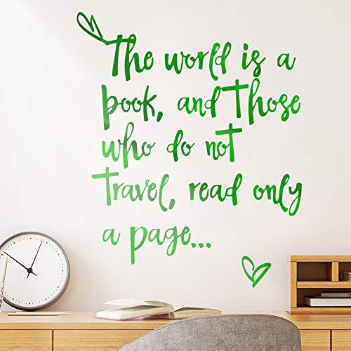 Muursticker voor slaapkamer, inspirerende spreuken voor woonkamer, slaapkamer, nachtkastje, Engelse sticker Verde 54 * 43 Cm
