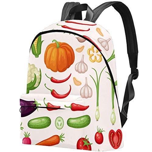Icons Set von frischem Bio-Gemüse, Kinderrucksack für Teenager, Mädchen, elementarer Schulranzen, Schulranzen, Büchertaschen, Teenager