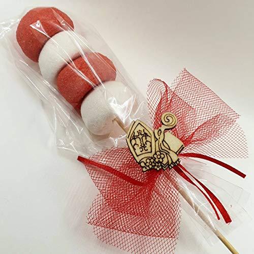 Segnaposto originali spiedino marshmallow cresima bomboniere economiche (Spiedino con Mitria in legno)
