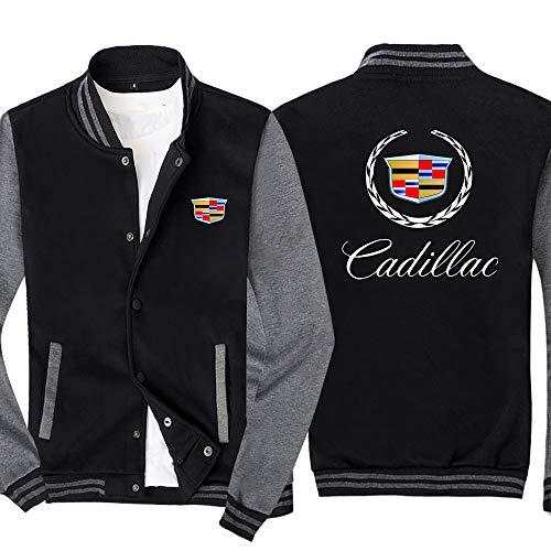 Męska bluza rozpinana w piersi kurtka z klapami zimowa ciepła odzież wierzchnia płaszcze Casual bluza w dużych rozmiarach Cadillac strój baseballowy,czarno szary,XL