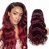 Perruque Lace Front Cheveux Naturels Ombre Human Hair Wigs 4x4 Lace Wig Cheveux Naturels BréSilienne Body Wave Wig Red Wig Lace Front Human Hair Wig Red Lace Front Wig 1b/99j 18 Pouce By NIUDINNG Hair