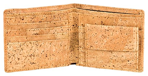 Geldbeutel aus Kork (Kork-Stoff). Alternative zu tierischem Leder. Kork-Geldbeutel Kork-Portemonnaie. 4 Fächer für Karten + 2 für Scheine + Münzfach