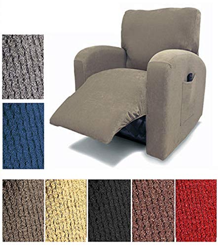 Orly's Dream Pique Stretch Fit Furniture Chair Recliner Lazy Boy Cover Slipcover (Light Yellow Gold/Beige)