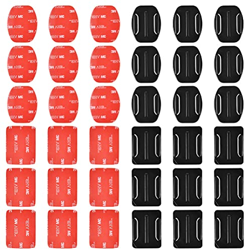 18 Pcs Adhesive Mounts for GoPro Cameras, 9 Pcs Curved Mounts & 9 Pcs Flat Mounts with 3M Sticky Pads, Tape Mount to Your Helmet, Bike, Board, Car