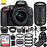 Nikon D5600 DSLR Camera with 18-55mm Lens(#1576), AF-P DX NIKKOR 70-300mm Lens(#20062), 2.2x Telephoto Lens, and .43x Wide Macro Lens with Essentials Bundle - Includes: 3pc Filter Kit, Professional Ca
