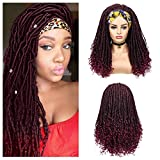 Lady Hanne Dreadlock Wig Black Burgundy HeadBand Wig Long Afro Curly Wigs Braided Twist Dreadlock Wigs Heat Resistant Synthetic Daily Party Replacement Wig for Women
