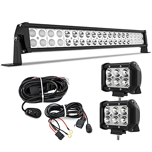 YITAMOTOR LED Light Bar 22 inches 120W Light Bar Combo & 2pc 18W Spot Pod Lights & Wiring Harnesses Compatible for Jeep, Pickup, Off Road, Truck, 4X4, ATV, Boat, Motorcycle, Trailer, IP68 Waterproof