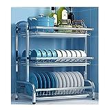MARYYUN Rejilla para secar Platos con Soporte para Utensilios, para gabinete de encimera de Cocina escurreplatos(Color:b)