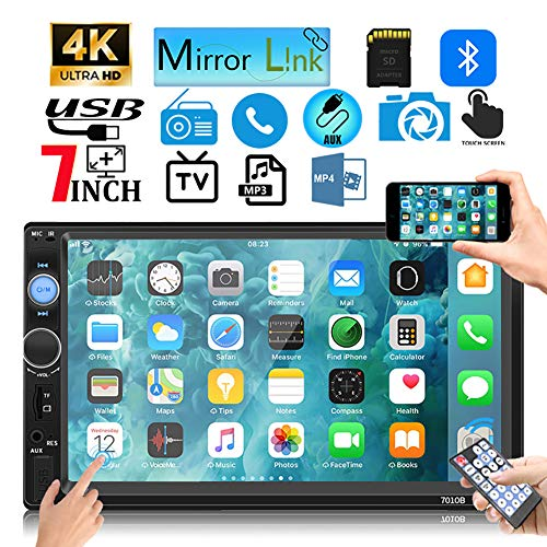 Leadfan Double Din Car Stereo Touch Screen with Bluetooth FM Radio MP5/4/3 Player Car Audio Receiver Car Audio Android iPhone Mirror Link USB/SD/AUX Hands Free Calling