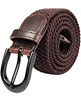 Braided Stretch Elastic Belt with Pin Oval Solid Black Buckle Leather Loop End Tip with Men/Women/Junior (Solid Brown, Large 36