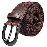 Mile High Life Cinturón elástico trenzado elástico con pasador ovalado Hebilla completa de cuero negro con hombre/mujer / extremo júnior (Marrón, XX-Grande 111cm-116cm (131.5cm de longitud))