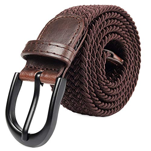 "Braided Stretch Elastic Belts | Pin Oval Solid Black Belt Buckle | PU Loop End Tip Men/Women/Junior (Brown, Small 28""-30"" (35' Length))"