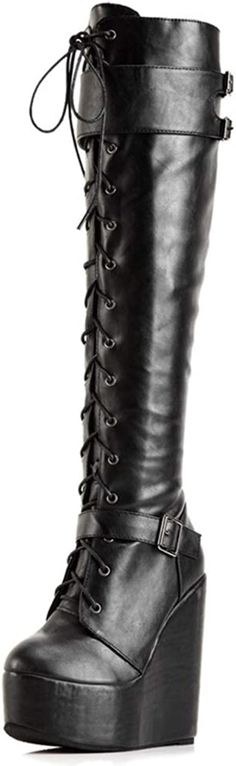 Hoxekle Fashion PU High Heel Boots Women Wedges Platform Lace Up Thigh High Boots Woman Over The Knee Boots