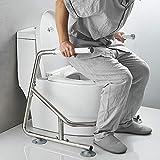 Mobile WC/Klo Aufstehhilfe rutschfest, Toiletten Halteschiene - Toilettenstützgestell,Weiß