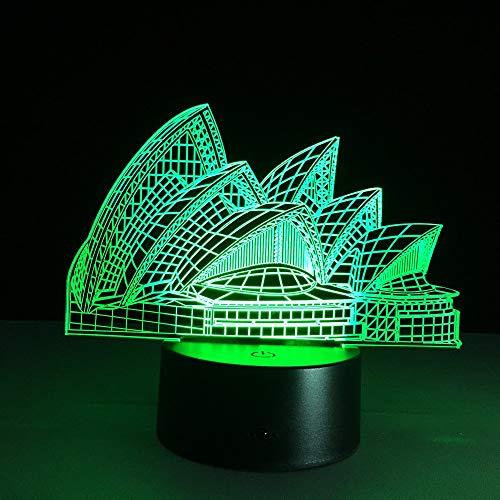 Hermosa lámpara de ilusión 3D de Opera House para niños, niñas, regalo, luz de noche 3D para dormitorio al lado de la mesa, lámpara de mesa de escritorio con 16 colores cambiantes, regalo para ni