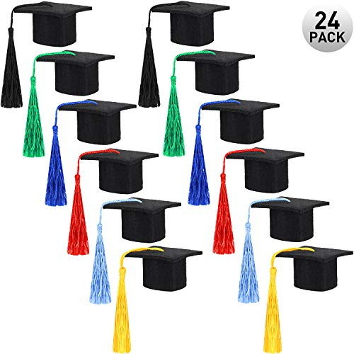 meekoo 24 Pieces Mini Graduation Hat Black Felt Graduation Hat Graduation Caps with Colorful Tassels for Graduation Party Drinker Bottle Topper Table Decoration
