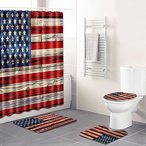 QPCGRA 4-Teilig Duschvorhang Set Blaue rote graue amerikanische Flagge wasserdichtes Badematten-Set Badteppiche Toilettendeckelabdeckung Kontur Teppich Duschvorhang mit 12 Haken 180×200 cm