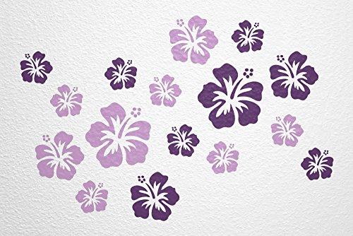 WANDfee® Wandtattoo 16 Hibiskus Blüten AC0611817 Größe Ø 7-15 cm, 2 x Ø 15 cm, 4 x Ø 11 cm, 10 x Ø 7 cm Farbe flieder lila