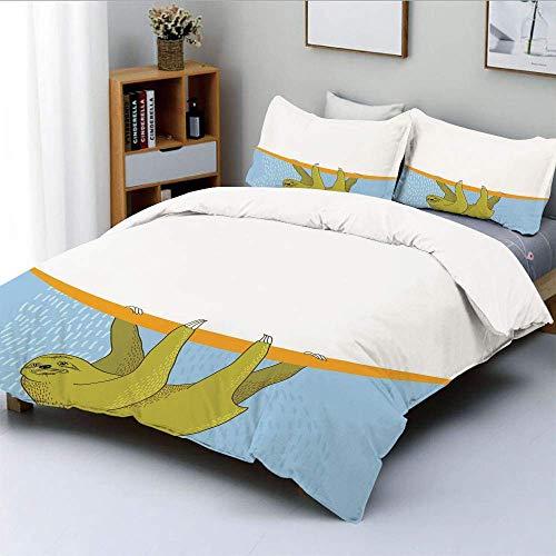 Juego de funda nórdica, perezoso en ilustración submarina Oceanic Tropical Wildlife Habitat Fauna Juego de cama decorativo de 3 piezas con 2 fundas de almohada, azul claro, caqui, naranja, el mejor re