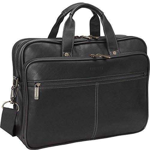 Heritage Travelware Colombian Leather Dual Compartment Top Zip 16' Laptop Portfolio, Black