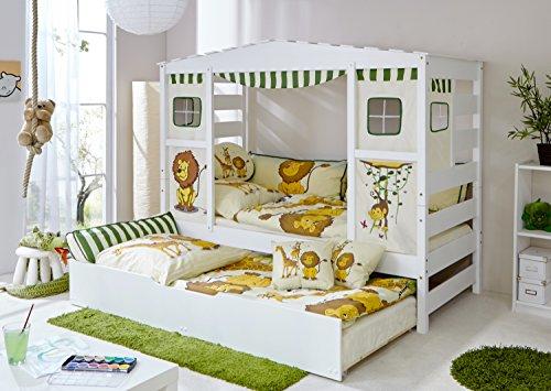 Ticaa Hausbett mit Bettkasten Safari Kiefer Weiß