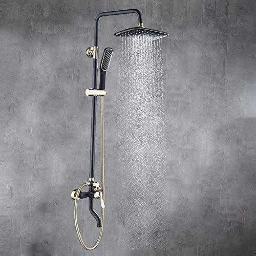XLTT Ducha en pared con filtro de cerámica de latón con pintura giratoria para ducha de baño de cobre negro