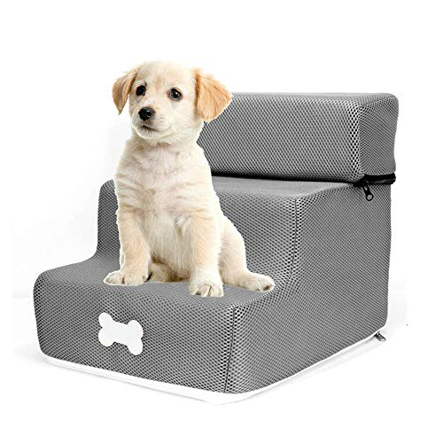 DaJun Foldable Pet Stair Steps -Washable Detachable Three-Story Stair Pet Ramp for Small Dogs Pets- Best Pet Supplies for Dogs Cats
