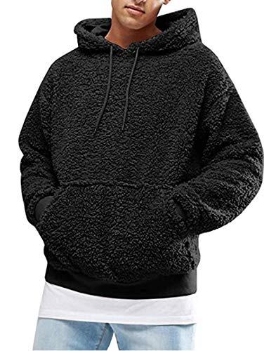 Hertsen - Sudadera con capucha para hombre con forro polar y bolsillo frontal para otoño e invierno Negro Negro ( XXL