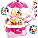 Buyger 39pcs Carrito de Helados Comida Alimentos de Juguetes niños niñas 3 años Juego Educativo (Rosa)