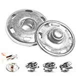50 Sets Sew-on Snap Buttons, Metal Snaps Fasteners Press Studs Buttons for Sewing Clothing, 3/4' 19mm(Silver)