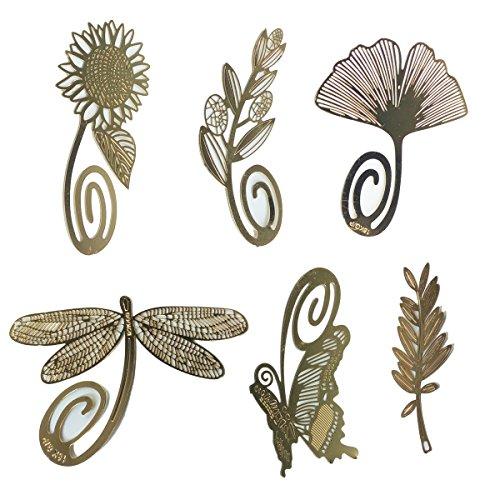 BLUGUL Klassische Messing Lesezeichen, Natur Thema mit Clip Gold 6pcs