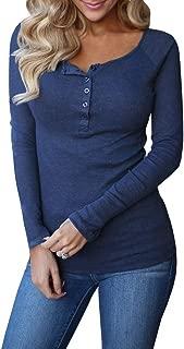 Womens Long Sleeve Henley Shirts Slim Tights Casual High Elasticity Tunic