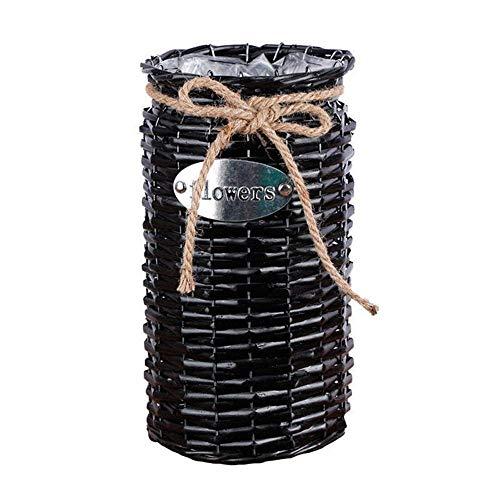 YVX Cesta de Almacenamiento Tejida de Mimbre, Cesta cilíndrica Tejida a Mano, jarrón de ratán de Piso Alto para Flores secas, macetas de Paja rústicas, jarrón de Plantas para decoración de cocin