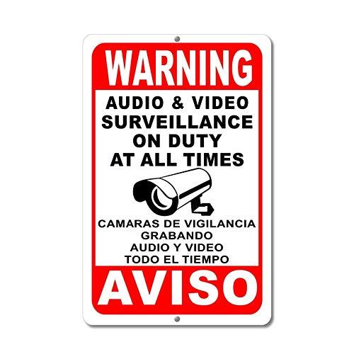 Dozili Überwachungsschilder Warnung Sicherheit Signal Audio Video Kamera Spanisch Englisch, Aluminium, einfarbig, 12