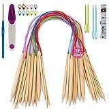 Bamboo Knitting Needles Set, ARPDJK 18 Pairs 2mm - 10mm Circular Double Pointed Knitting Needles Sets with...