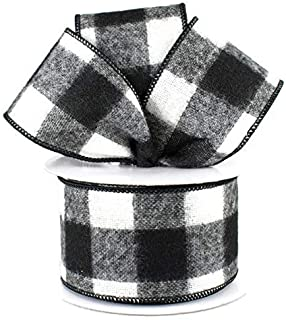 Fuzzy Large Check Plaid Wired Edge Ribbon, 2.5 Inches x 10 Yards (Black, White)