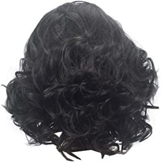 COSJP Throne Jon Snow Cosplay Wig Halloween Costume Mens Short Black Curly Fluffy Hair Wigs+Hairnet