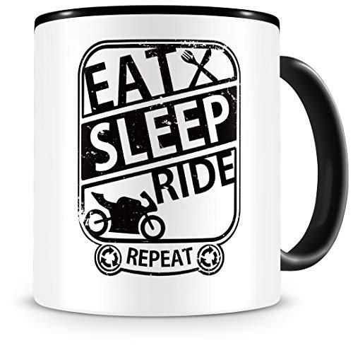 Samunshi® Motorrad Tasse mit Spruch Eat Sleep Repeat Geschenk für Biker Kaffeetasse groß Lustige Tassen zum Geburtstag schwarz 300ml