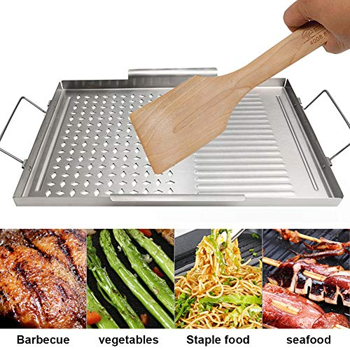 Plaque de barbecue, plaque de barbecue rectangulaire en acier inoxydable, plaque de cuisson plaque de cuisson barbecue plaque de cuisson cuisson pour les voyages de Camping en plein air 43x29.2x2cm