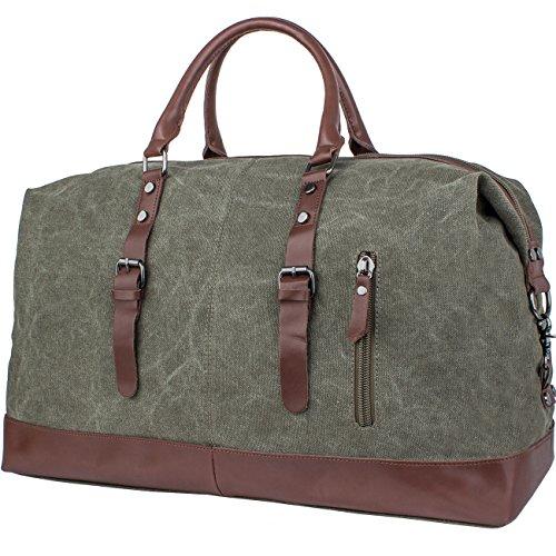 Leaper Canvas Travel Duffel Weekend Bag Tote Shoulder Handbag Army Green